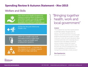 WHC Spending Review & Autumn Statement - Welfare and Skills